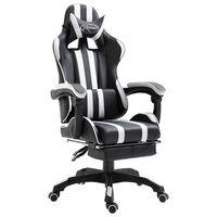 vidaXL fehér műbőr gamer szék lábtartóval