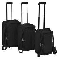 vidaXL 3 darabos, fekete bőröndszett