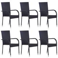 vidaXL 6 db fekete rakásolható polyrattan kültéri szék