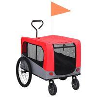 vidaXL piros/szürke 2 az 1-ben bicikliutánfutó és sétakocsi
