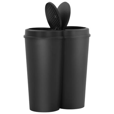 vidaXL fekete dupla szemeteskuka 50 L