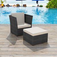vidaXL fekete kerti polyrattan szék zsámollyal