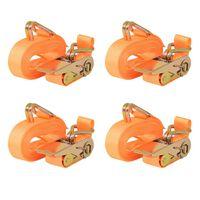 vidaXL 4 db narancssárga racsnis spanifer 0,4 tonna 6 m x 25 mm
