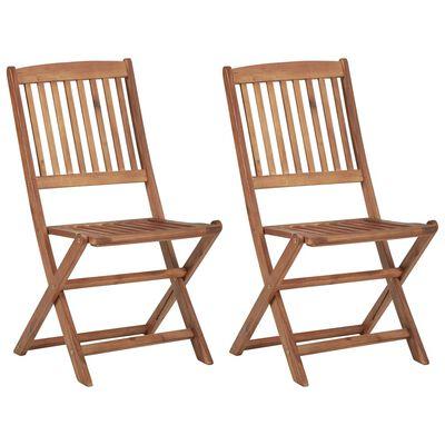 vidaXL 2 db összecsukható tömör akácfa kerti szék párnával