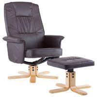 vidaXL barna műbőr fotel lábtartóval