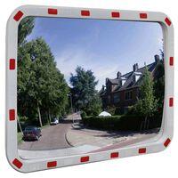 Téglalap alakú konvex közlekedési tükör fényvisszaverőkkel 60 x 80 cm