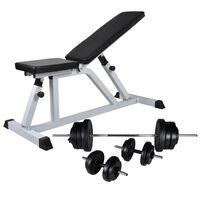 vidaXL edzőpad egykezes és kétkezes súlyzókészlettel 60,5 kg