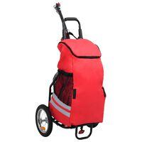 vidaXL összecsukható kerékpár-utánfutó piros és fekete táskával