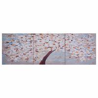 vidaXL többszínű virágzó fa nyomtatott vászon falikép szett 120x40 cm