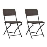 vidaXL 2 db barna összecsukható acél és HDPE kerti szék