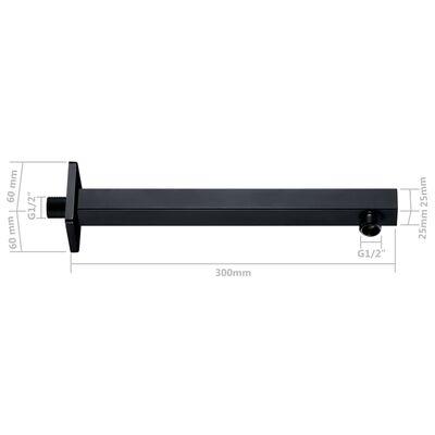 vidaXL fekete négyszögletes rozsdamentes acél zuhanytartókar 30 cm