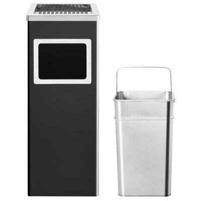 vidaXL fekete acél szemeteskuka hamutartóval 36 liter