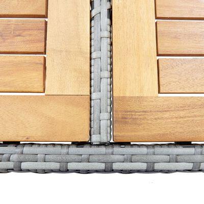 vidaXL 7-részes szürke polyrattan kültéri bárszett párnákkal