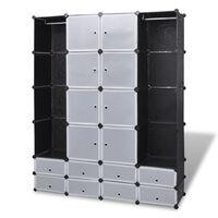 vidaXL moduláris szekrény 18 tárolórekesszel fekete és fehér 37 x 146 x 180,5 cm