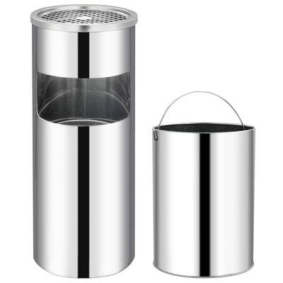 vidaXL rozsdamentes acél hamutartó szemeteskukával 30 L