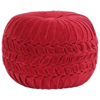vidaXL piros zubbonyos pamutbársony puff 40 x 30 cm