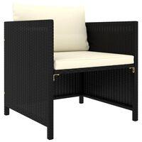 vidaXL fekete polyrattan kerti kanapé párnákkal