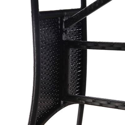 vidaXL 3 részes fekete polyrattan kerti étkezőgarnitúra