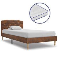 vidaXL művelúr ágy memóriahabos matraccal 90 x 200 cm