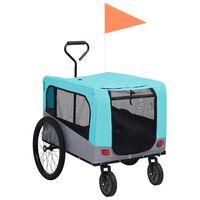 vidaXL kék/szürke 2 az 1-ben bicikliutánfutó és sétakocsi