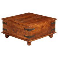 vidaXL dohányzóasztal tömör akácfából rózsafa felülettel 80x80x40 cm