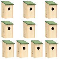 vidaXL 10 db tömör fenyőfa madárház 12 x 12 x 22 cm