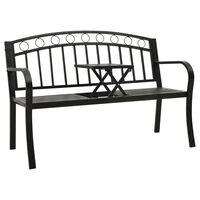 vidaXL fekete acél kerti pad asztallal 125 cm
