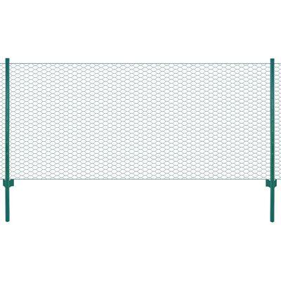 vidaXL zöld acél drótkerítés tartóoszlopokkal 25 x 0,75 m