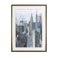 Kék És Szürke Város Mintájú Fali Kép 60 x 80 cm BAMAKO