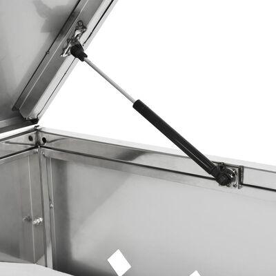 vidaXL rozsdamentes acéltároló négy gurítható szemeteskukához 240 L