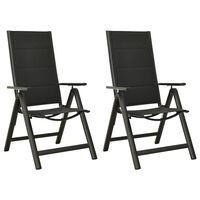 vidaXL 2 db fekete textilén és alumínium összecsukható kerti szék