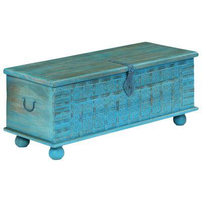 vidaXL kék színű tömör mangófa tárolóláda 100 x 40 x 41 cm