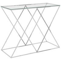 vidaXL ezüstszínű rozsdamentes acél és üveg kisasztal 90 x 40 x 75 cm