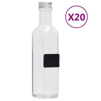 vidaXL 20 db négyszögletes 250 ml-es üvegpalack csavaros kupakkal