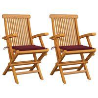 vidaXL 2 db tömör tíkfa kerti szék bordó párnával