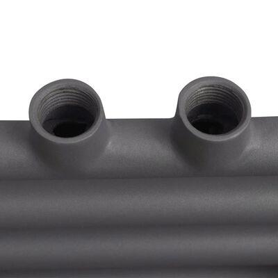 Ívelt szürke törölközőszárító radiátor központi fűtéssel 480 x 480 mm