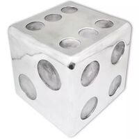 243506 vidaXL dobókocka alakú zsámoly/kisasztal alumínium ezüst
