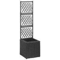 vidaXL fekete rácsos polyrattan magaságyás 1 kaspóval 30 x 30 x 107 cm
