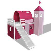 Fehér favázas csúszólétrás rózsaszín hercegnőkastély témájú emelt ágy