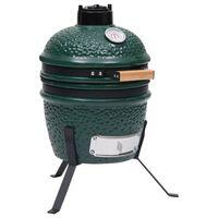 vidaXL zöld kerámia 2 az 1-ben Kamado grillsütő füstölővel 56 cm