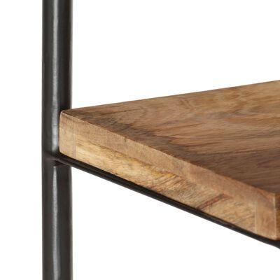 vidaXL 5-szintes tömör mangófa és acél könyvespolc 80 x 35 x 180 cm