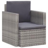 vidaXL szürke polyrattan kerti szék párnákkal