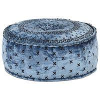 vidaXL kék kerek hímzett bársony puff 60 x 25 cm