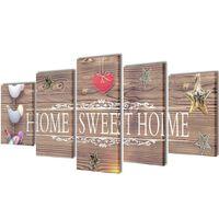 """Nyomtatott vászon falikép szett """"Home Sweet Home"""" dizájn 200 x 100 cm"""
