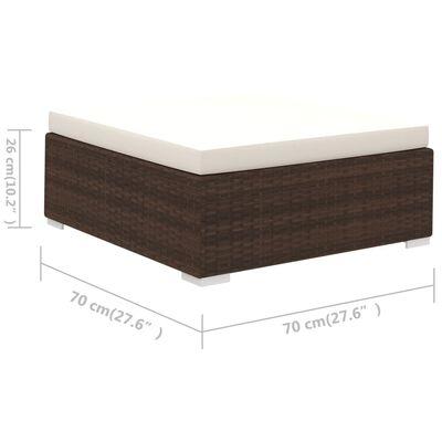 vidaXL 6-részes barna polyrattan kerti bútorszett párnákkal