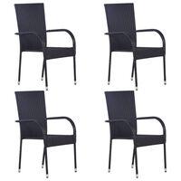 vidaXL 4 db fekete rakásolható polyrattan kültéri szék