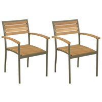 vidaXL 2 db rakásolható tömör akácfa és acél kültéri szék