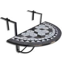 vidaXL fekete és fehér mozaik felakasztható erkély asztal
