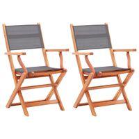 vidaXL 2 db szürke tömör eukaliptuszfa és textilén összecsukható szék