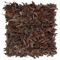 vidaXL barna bőr és pamut bozontos párna 60 x 60 cm